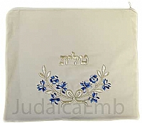 Tallit Bag Blue w/silver