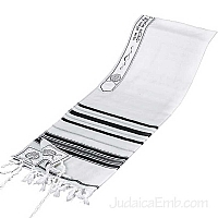 Tallit / Prayer Shawl - Wool Black/Silver