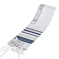 Tallit / Prayer Shawl - Wool Blue/Gold
