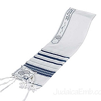 Tallit / Prayer Shawl - Wool Blue/Silver
