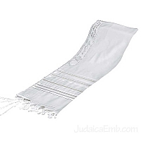 Tallit / Prayer Shawl - Wool White/Gold