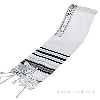 Tallit / Prayer Shawl - Synagogue Quality - Black/Silver