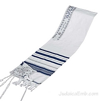 Tallit / Prayer Shawl - Synagogue Quality - Blue/Silver