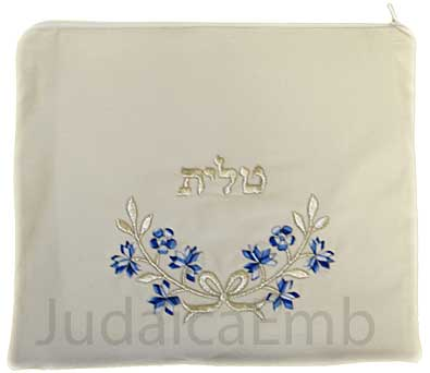 Tallit Bag Blue W Silver