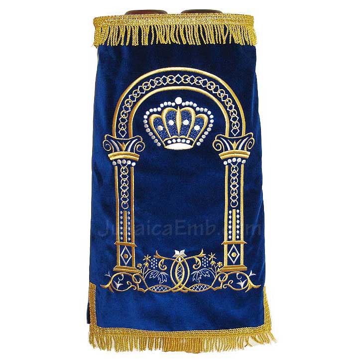 Torah Cover | Royal blue | Traditional Mantle M191R - JudaicaEmb com